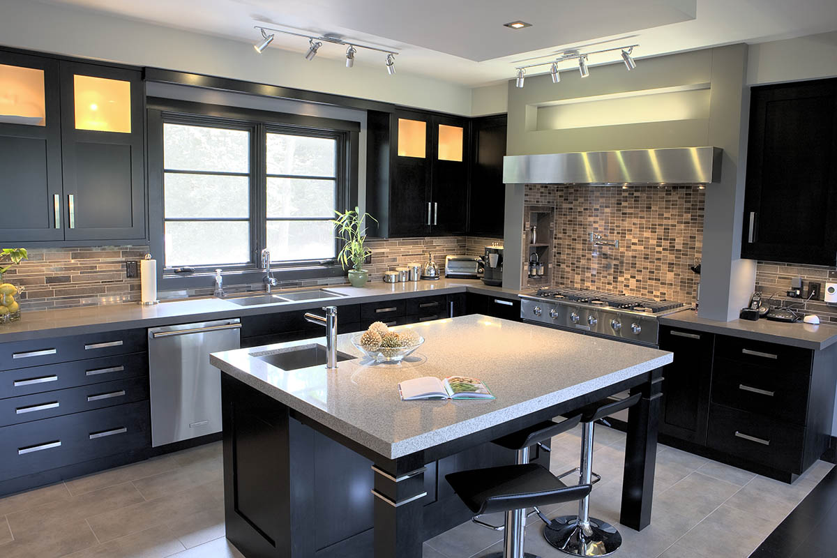 modern black kitchens.  Modern A Modern Black Kitchen With Clean Lines Stainless Accents And A Splash Of  Greys  In Modern Black Kitchens