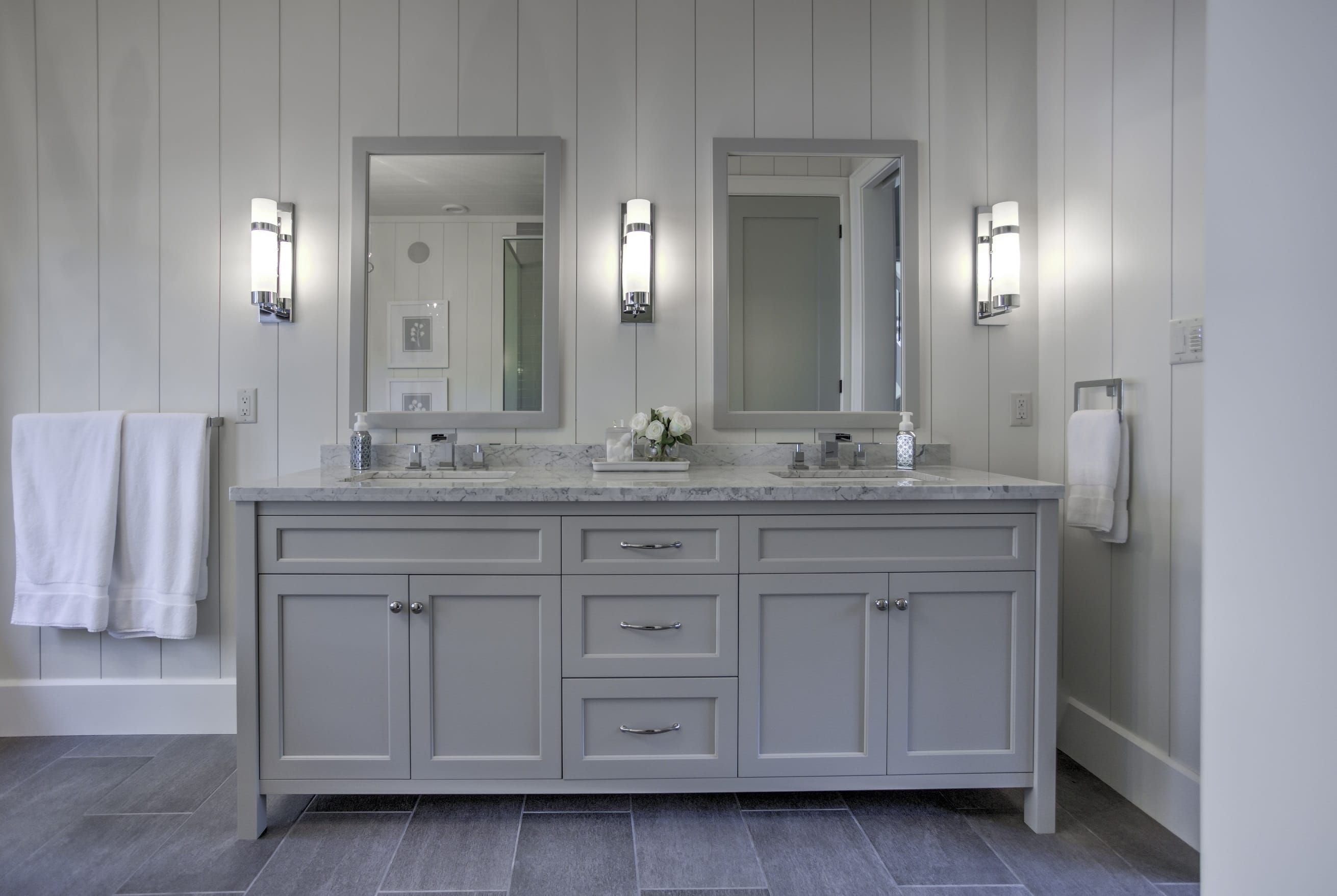 This calm and serene master bath features warm grey toned vanity cabinets with a complemeting granite. Bathrooms   Northern Living Kitchen and Bath Ltd