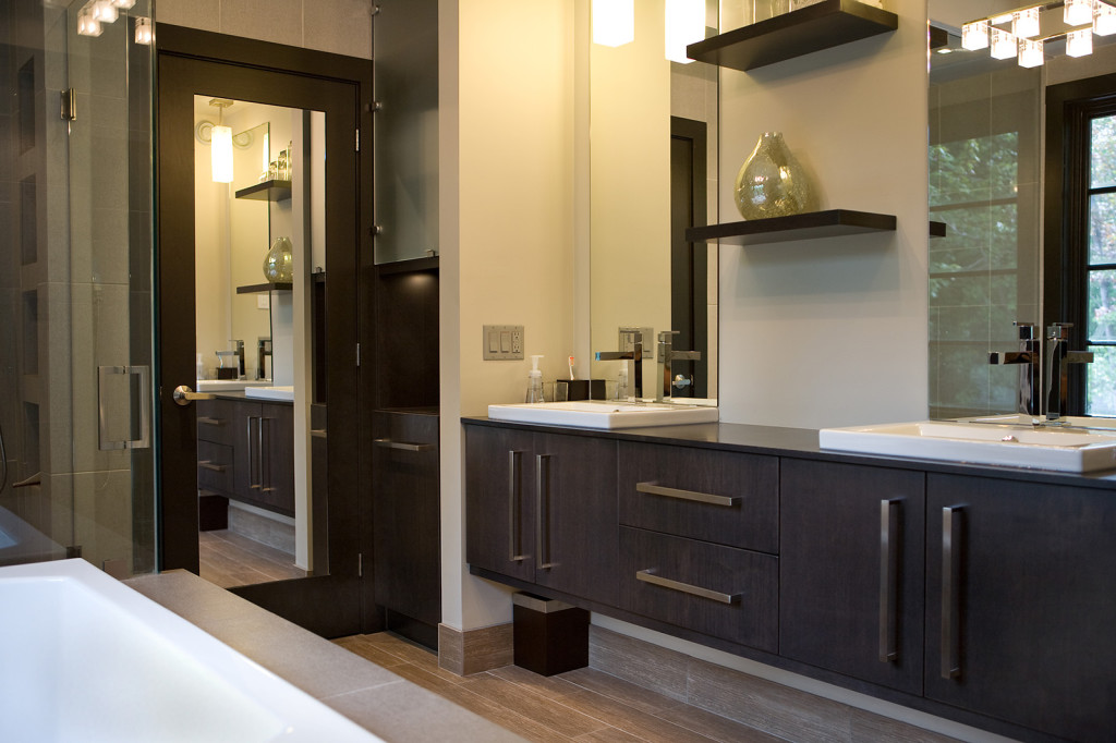 bathroom design dark wood mirrors